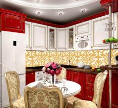 Фартук из мозаики на кухне «Золотой узор»