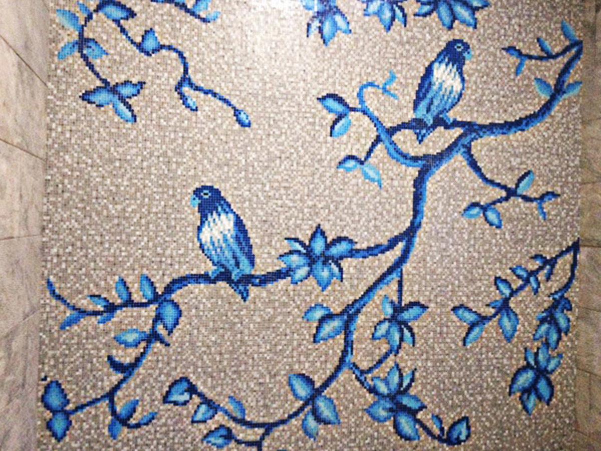 Декор мозаикой Синие птички