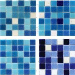 Мозаика для бассейна бело-голубая