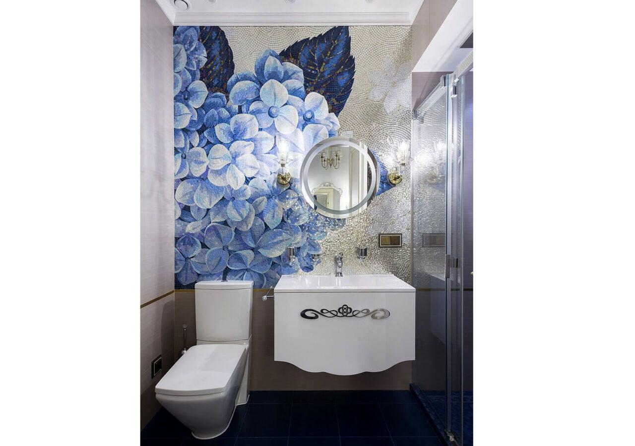 Панно из мозаики Blue Flowers