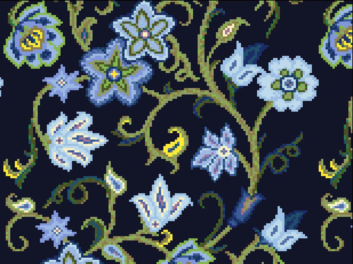 Узор из мозаики «Синие цветы»