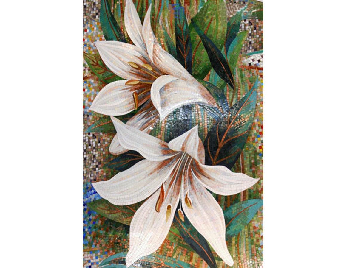 Интерьер ресторана мозаичное панно Цветы