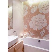 Мозаичное панно для ванной Pink Flowers