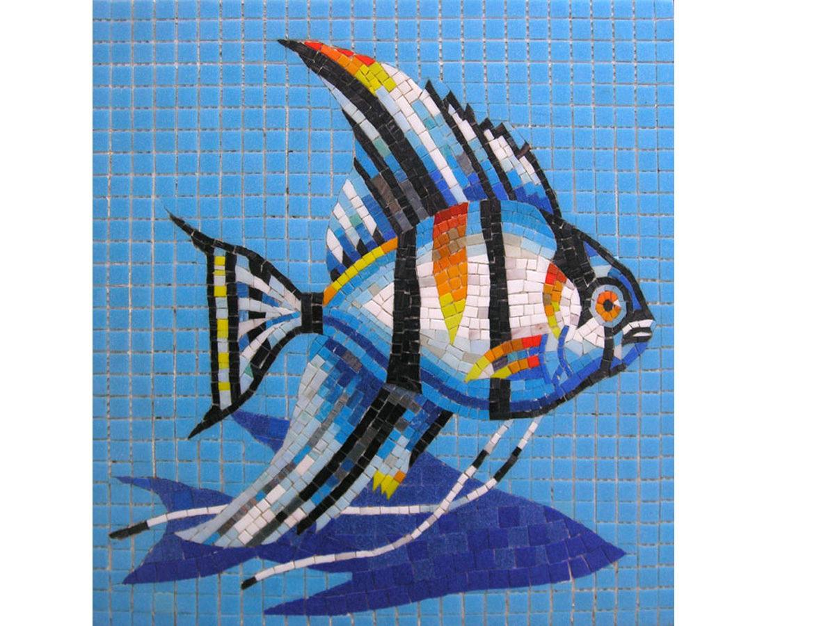 Мозаичное панно — рыбки для бассейна