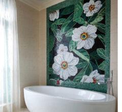 Панно из мозаики White Flowers